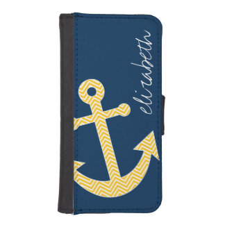Nautical Anchor with Navy Yellow Chevron Pattern Phone Wallet