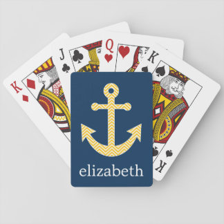 Nautical Anchor with Navy Yellow Chevron Pattern Playing Cards
