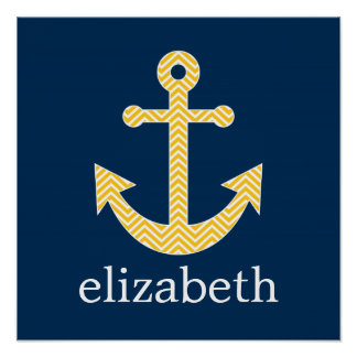 Nautical Anchor with Navy Yellow Chevron Pattern Poster