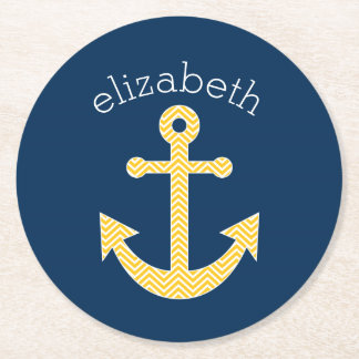 Nautical Anchor with Navy Yellow Chevron Pattern Round Paper Coaster