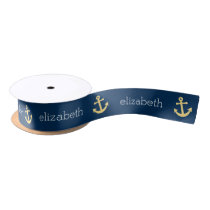Nautical Anchor with Navy Yellow Chevron Pattern Satin Ribbon