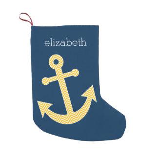 Nautical Anchor with Navy Yellow Chevron Pattern Small Christmas Stocking