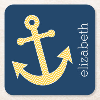 Nautical Anchor with Navy Yellow Chevron Pattern Square Paper Coaster