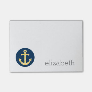 Nautical Anchor with Navy Yellow Chevron Pattern Post-it® Notes