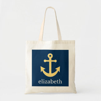 Nautical Anchor with Navy Yellow Chevron Pattern Tote Bag