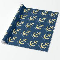 Nautical Anchor with Navy Yellow Chevron Pattern Wrapping Paper