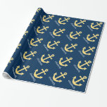 Nautical Anchor with Navy Yellow Chevron Pattern Gift Wrapping Paper