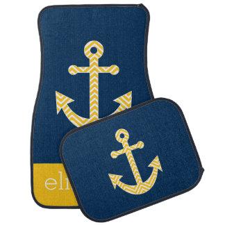 Nautical Anchor with Navy Yellow Chevron Pattern Floor Mat