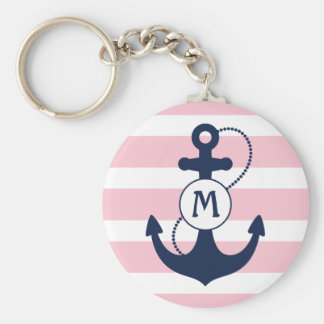 Nautical Anchor with Pink Stripes and Monogram Keychain