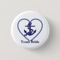 Nautical Anchor with Rope Heart Wedding Team Bride Button