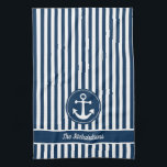 """Nautical Anchor with Rope on Navy Blue Stripes Kitchen Towel<br><div class=""""desc"""">Ahoy there mateys! Perfect for your home,  ship,  boat or beach house,  this nautical design features an anchor,  rope over navy blue and white stripes. Personalize it with your family name or phrase.</div>"""