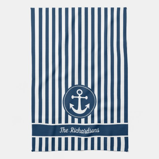 Nautical Anchor with Rope on Navy Blue Stripes Kitchen Towel