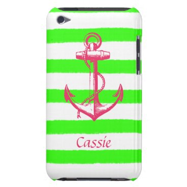 Beach Themed Nautical Anchor with Summer Neon Green Stripes Barely There iPod Cover