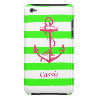 Nautical Anchor with Summer Neon Green Stripes Barely There iPod Case