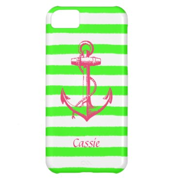 Beach Themed Nautical Anchor with Summer Neon Green Stripes iPhone 5C Case