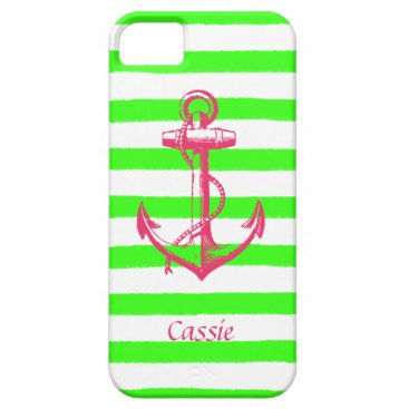 Beach Themed Nautical Anchor with Summer Neon Green Stripes iPhone SE/5/5s Case