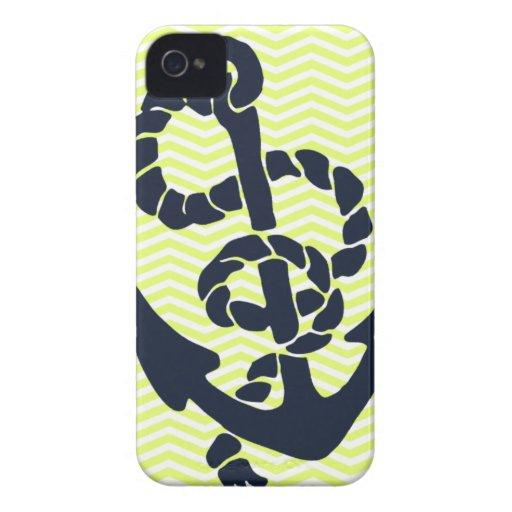 Nautical Anchor Yellow Chevron iphone 4 4S case iPhone 4 Case-Mate Case