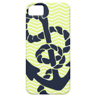 Nautical Anchor Yellow Chevron iphone 5  case iPhone 5 Cover