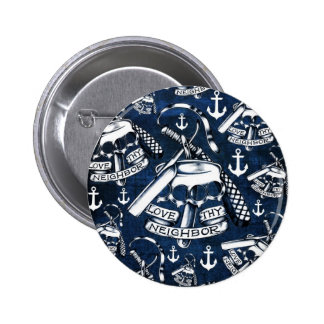 Nautical anchors and brass knuckles in navy. pinback button