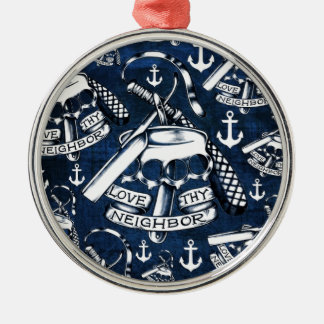 Nautical anchors and brass knuckles in navy. metal ornament