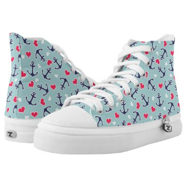 Valentines Themed Nautical Anchors and Hearts Pattern High-Top Sneakers