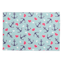 Nautical Anchors and Hearts Pattern Pillows Pillow Case