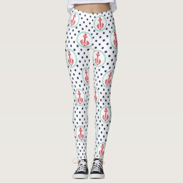 Beach Themed Nautical Anchors and Polka Dot Pattern Leggings