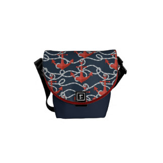 Nautical Anchors And Rope Pattern Messenger Bag