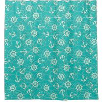 Nautical Anchors Aqua Blue tiled Shower Curtain