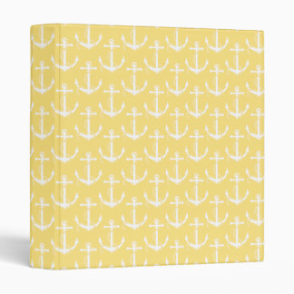 Nautical Anchors Aweigh Light Yellow Binders