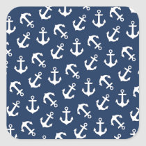 Nautical Anchors Aweigh Pattern Navy Square Sticker