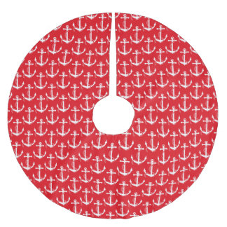 Nautical Anchors Aweigh Red Brushed Polyester Tree Skirt