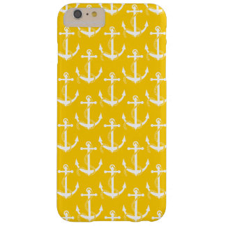 Nautical Anchors Aweigh Yellow Barely There iPhone 6 Plus Case