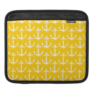 Nautical Anchors Aweigh Yellow Sleeve For iPads