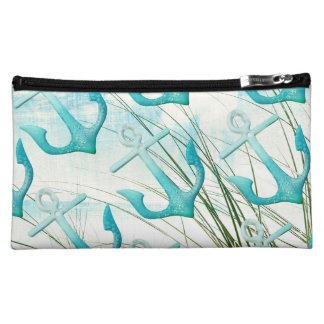 Nautical Anchors Beach Ocean Seaside Coastal Theme Cosmetic Bags