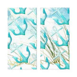 Nautical Anchors Beach Ocean Seaside Coastal Theme Canvas Print