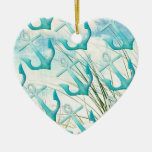 Nautical Anchors Beach Ocean Seaside Coastal Theme Ceramic Ornament