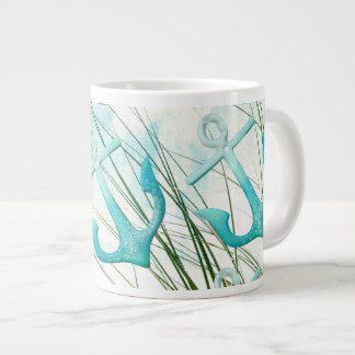Nautical Anchors Beach Ocean Seaside Coastal Theme Large Coffee Mug