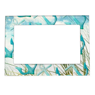 nautical anchors beach ocean seaside coastal theme magnetic picture frame - Nautical Frames