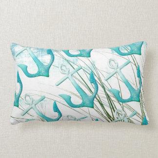 Nautical Anchors Beach Ocean Seaside Coastal Theme Pillow