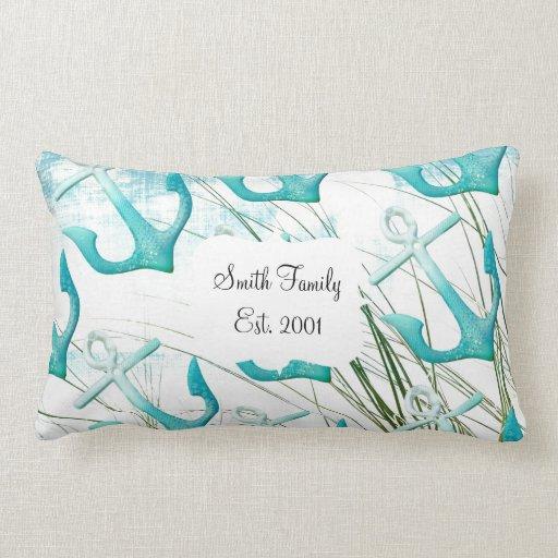 Nautical Anchors Beach Ocean Seaside Coastal Theme Pillow Zazzle
