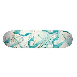 Nautical Anchors Beach Ocean Seaside Coastal Theme Skateboard