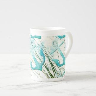 Nautical Anchors Beach Ocean Seaside Coastal Theme Tea Cup