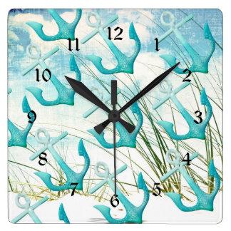 Nautical Anchors Beach Ocean Seaside Coastal Theme Square Wall Clock