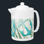 "Nautical Anchors Beach Ocean Seaside Coastal Theme Teapot<br><div class=""desc"">Nautical Anchors Beach Ocean Seaside Coastal Theme 