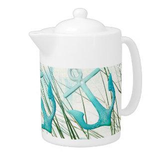 Nautical Anchors Beach Ocean Seaside Coastal Theme Teapot at Zazzle
