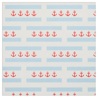 Nautical Anchors Chicago Flag Pattern Fabric