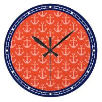 Nautical Anchors Coral Pink Navy Blue Coastal Large Clock