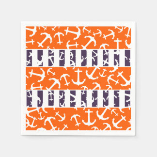 Nautical Anchors Fluo Neon Orange Navy Blue Stripe Paper Napkin