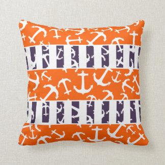 Nautical Anchors Fluo Neon Orange Navy Blue Stripe Throw Pillows